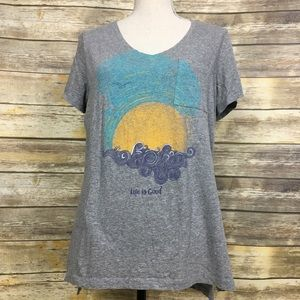Life is Good Women's V Neck T Shirt, Sz Large
